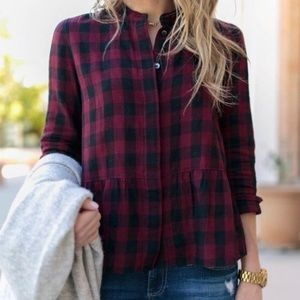Madewell Lakeside plaid button down Peplum shirt